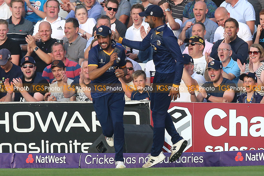 Mohammad Amir of Essex celebrates his catch to take the wicket of Ollie Pope during Essex Eagles vs Surrey, NatWest T20 Blast Cricket at The Cloudfm County Ground on 7th July 2017