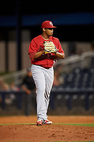 Palm Beach Cardinals relief pitcher Yeison Medina (53) gets ready to deliver a pitch during a game against the Charlotte Stone Crabs on April 21, 2018 at Charlotte Sports Park in Port Charlotte, Florida.  Charlotte defeated Palm Beach 5-2.  (Mike Janes/Four Seam Images)