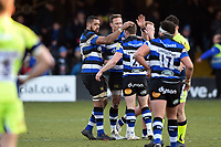 Bath Rugby celebrate victory. Aviva Premiership match, between Bath Rugby and Sale Sharks on February 24, 2018 at the Recreation Ground in Bath, England. Photo by: Patrick Khachfe / Onside Images