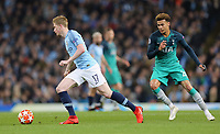 Manchester City's Kevin De Bruyne gets away from Tottenham Hotspur's Dele Alli<br /> <br /> Photographer Rich Linley/CameraSport<br /> <br /> UEFA Champions League - Quarter-finals 2nd Leg - Manchester City v Tottenham Hotspur - Wednesday April 17th 2019 - The Etihad - Manchester<br />  <br /> World Copyright © 2018 CameraSport. All rights reserved. 43 Linden Ave. Countesthorpe. Leicester. England. LE8 5PG - Tel: +44 (0) 116 277 4147 - admin@camerasport.com - www.camerasport.com