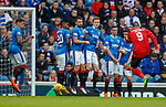 05.05.2018 Rangers v Kilmarnock: Kris Boyd fires a free kick past the Rangers wall