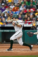 Baylor Bears outfielder Logan Brown (16) follows through on his swing during the NCAA baseball game against the LSU Tigers on March 7, 2015 in the Houston College Classic at Minute Maid Park in Houston, Texas. LSU defeated Baylor 2-0. (Andrew Woolley/Four Seam Images)