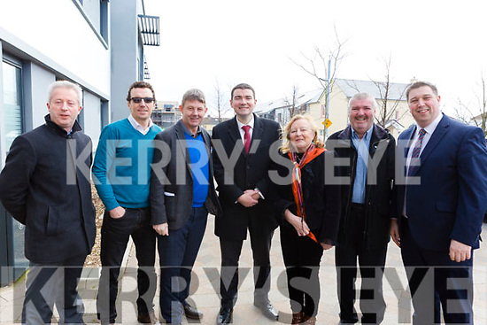 The members of Foodshare Kerry and NEWKD greeting Minister Brendan Griffin at his arrival at the NEWKD offices in Aras an Pobhail in Tralee on Monday last, l-r: Eamonn O'Reilly (NEWKD), Robert Carey (NEWKD), Junior Locke (Foodshare Kerry), Minister Brendan Griffin TD, Brigid O'Connor (Vice Chair, NEWKD), John Stack (Chair, NEWKD) and Cllr Niall Kelleher (Mayor of Killarney).