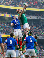 Sunday10th March 2019 | Ireland vs France<br /> <br /> Iain Henderson during the Guinness 6 Nations clash between Ireland and France at the Aviva Stadium, Lansdowne Road, Dublin, Ireland. Photo by John Dickson / DICKSONDIGITAL