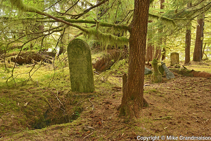 Pre 1900 burials at Mathers Creek on Louise Island, Haida Gwaii. thought to be of persons who had lived in the village of Clue. After this era the Clue inhabitants relocated to Skidegate, British Columbia., Haida Gwaii (formerly the Queen Charlotte Islands), British Columbia, Canada