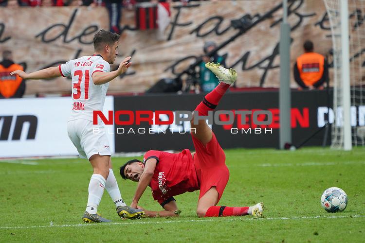 05.10.2019, BayArena, Leverkusen, GER, 1. FBL, Bayer 04 Leverkusen vs. RB Leipzig,<br />  <br /> DFL regulations prohibit any use of photographs as image sequences and/or quasi-video<br /> <br /> im Bild / picture shows: <br /> Diego Demme (RB Leipzig #31),  im Zweikampf gegen  Nadiem Amiri (Leverkusen #11), <br /> <br /> Foto © nordphoto / Meuter