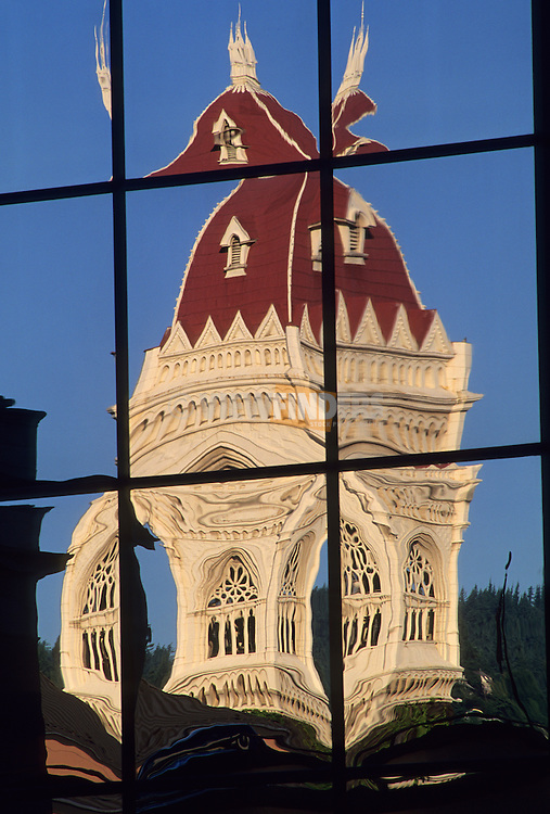 Reflection of First Congregational Church in a Window of a Highrise