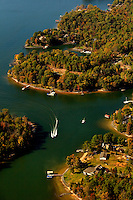 Charlotte aerial photography - October 2010 - of Lake Wylie on the outskirts of Charlotte, NC.