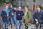 AND ACTION: A European film crew at Killarney railway station on Thursday morning as part of the filming of a travel and cookery programme around the Ring of Kerry, l-r: Eloy Braun, Machiel Martens, Killarney chef Paul Treyvaud, presenter Giles Thompson, Briel Van Rysbergen.