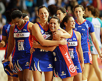 20.03.2010 Mystics Larrissa Willcox and Jenny May Coffin celebrate after the ANZ Champs Netball match between the Mystics and Thunderbirds at Trusts Stadium in Auckland. Mandatory Photo Credit ©Michael Bradley