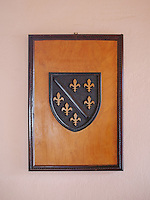 The Bosnian Coat of Arms from the Kotromanic era which rigned until 1463 on display at a teahouse in Mostar.