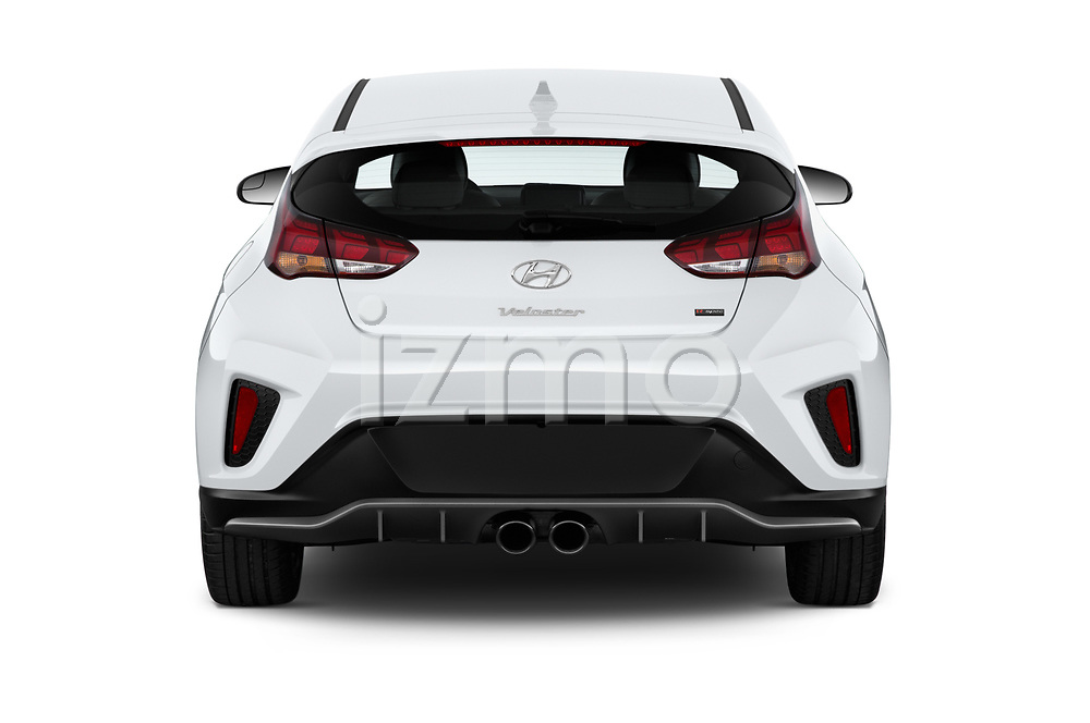 Straight rear view of 2019 Hyundai Veloster R-Spec 2 Door Coupe Rear View  stock images