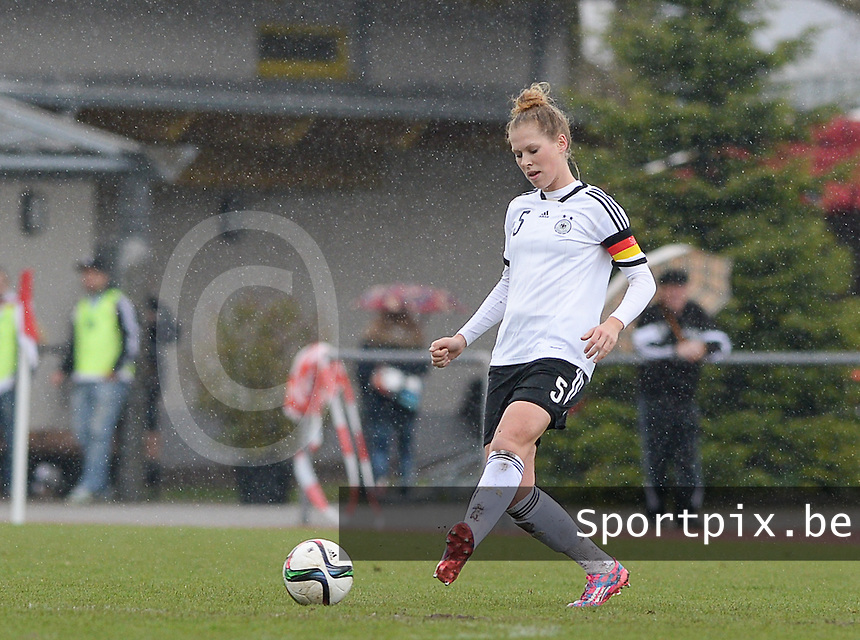20150404 - FORST , GERMANY  : German Rebecca Knaak pictured during the soccer match between Women Under 19 teams of Germany and Scotland , on the first matchday in group 5 of the UEFA Elite Round Women Under 19 at WaldseeStadion , Forst , Germany . Saturday 4th April 2015 . PHOTO DAVID CATRY