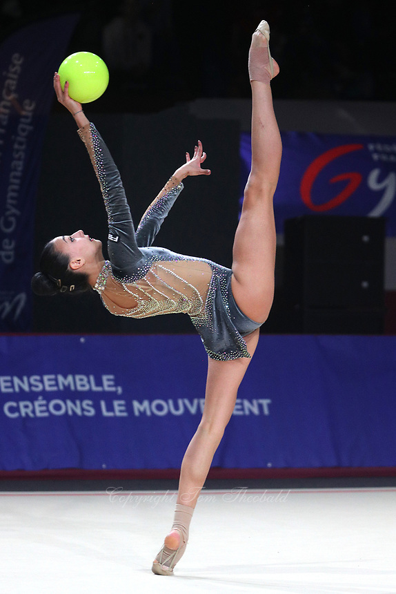 Alissia Russo of Italy performs at Thiais Grand Prix near Paris on March 25, 2018.