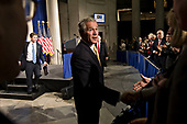 "United States President George W. Bush greets attendees following his speech at Federal Hall National Memorial in New York, New York, U.S., on Thursday, November 13, 2008. Bush urged leaders of the world's biggest economies not to abandon free- market capitalism as they seek an escape from the financial crisis, calling it the ""best system'' for delivering growth. <br /> Credit: Daniel Acker / Pool via CNP"