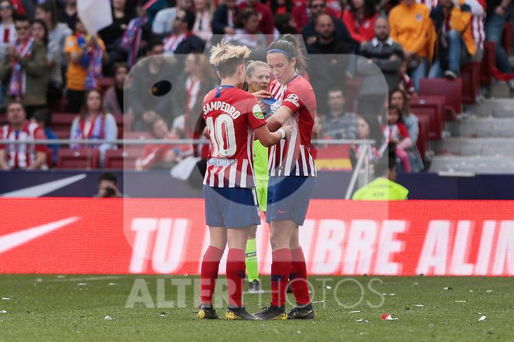 Atletico de Madrid's Amanda Sampedro (L) and Silvia Meseguer (R) during Liga Iberdrola match between Atletico de Madrid and FC Barcelona at Wanda Metropolitano Stadium in Madrid, Spain. March 17, 2019. (ALTERPHOTOS/A. Perez Meca)