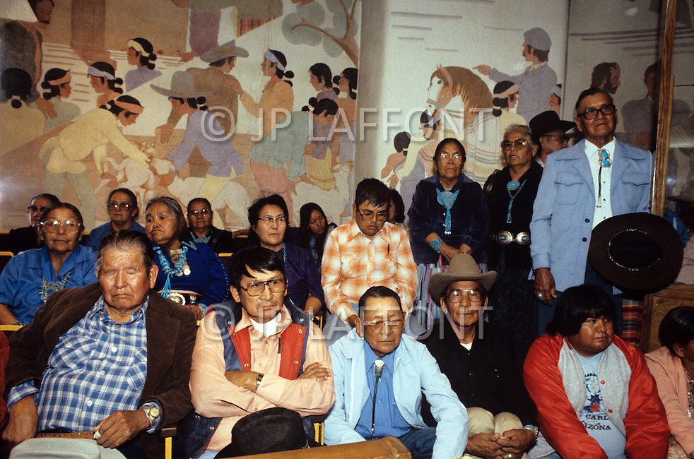May 6th to 13th, 1985 in Navajo Reserve, AZ. In Window Rock people gathered for a politial council of the Navajo Tribe.