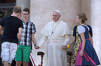 Pope Francis   during a meeting with German altar servers and seminarists in Saint Peter's Square at the Vatican on August 5, 2014.