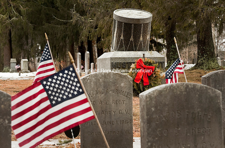 LITCHFIELD ,  CT,  CT-041115JS38- In the West Cemetery in Litchfield, sits the Mustered Out memorial which marks a burial plot set aside for dead soldiers whose bodies were unaccounted for. In 1923, the state of Connecticut erected 23 headstones for Litchfield men who were buried in unknown graves on Southern soil.<br /> Jim Shannon Republican-American
