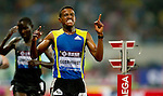SHANGHAI, CHINA - MAY 19:  Hagos Gebrehiwot of Ethiopia celebrates after winning (R) the Men 5000m during the Samsung Diamond League on May 19, 2012 at the Shanghai Stadium in Shanghai, China.  Photo by Victor Fraile / The Power of Sport Images