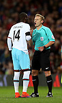 Referee Mike Jones talks to Pedro Mba Obiang of West Ham United during the English League Cup Quarter Final match at Old Trafford  Stadium, Manchester. Picture date: November 30th, 2016. Pic Simon Bellis/Sportimage