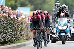 Team Ineos first off during Stage 2 of the 2019 Tour de France a Team Time Trial running 27.6km from Bruxelles Palais Royal to Brussel Atomium, Belgium. 7th July 2019.<br /> Picture: Colin Flockton | Cyclefile<br /> All photos usage must carry mandatory copyright credit (© Cyclefile | Colin Flockton)