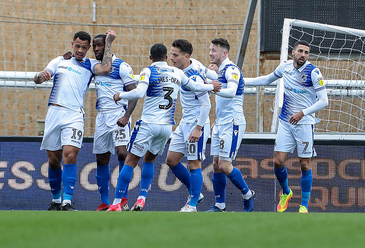 Bristol Rovers' Jonson Clarke-Harris (left) celebrates scoring his side's first goal <br /> <br /> Photographer Andrew Kearns/CameraSport<br /> <br /> The EFL Sky Bet League Two - Bristol Rovers v Blackpool - Saturday 2nd March 2019 - Memorial Stadium - Bristol<br /> <br /> World Copyright © 2019 CameraSport. All rights reserved. 43 Linden Ave. Countesthorpe. Leicester. England. LE8 5PG - Tel: +44 (0) 116 277 4147 - admin@camerasport.com - www.camerasport.com