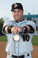 D.J. Stewart (10) of the Delmarva Shorebirds poses for a photo prior to the game against the Kannapolis Intimidators at Kannapolis Intimidators Stadium on April 11, 2016 in Kannapolis, North Carolina.  (Brian Westerholt/Four Seam Images)
