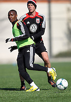 WASHINGTON, DC - February 06, 2012: Joseph Nane and Conor Shanosky of DC United during a pre-season practice session at Long Bridge Park, in Arlington, Virginia on February 6, 2013.