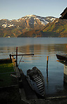 Water in the rowing boat on the Lake. Stätter See. Beckenried. Luzern area, Switzerland.