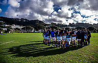 The Auckland team huddles during the Mitre 10 Cup preseason rugby match between the Wellington Lions and Auckland at Evan's Bay Park in Wellington, New Zealand on Friday, 3 August 2018. Photo: Dave Lintott / lintottphoto.co.nz