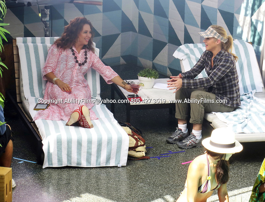 October 2nd 2012   Exclusive<br /> <br /> Christina Applegate sitting pool Side with Co-star Maya Rudolph at a Hotel in Los Angeles California while filming a scene for the tv show Up All Night . <br /> <br /> <br /> AbilityFilms@yahoo.com<br /> 805 427 3519 <br /> www.AbilityFilms.com