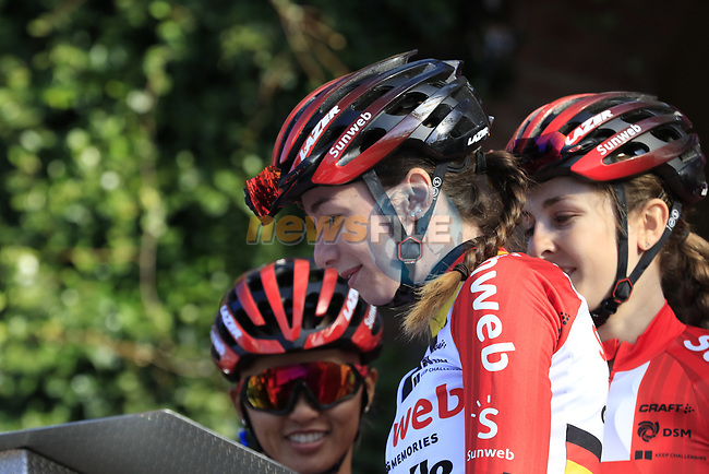 Team Sunweb Women at sign on before the Strade Bianche Women Elite 2019 running 133km from Siena to Siena, held over the white gravel roads of Tuscany, Italy. 9th March 2019.<br /> Picture: Eoin Clarke | Cyclefile<br /> <br /> <br /> All photos usage must carry mandatory copyright credit (© Cyclefile | Eoin Clarke)