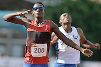 "CALI -COLOMBIA. 25-06-2016. Jhon Alejandro Perlaza Zapata atleta colombiano durante su participación en el Grand Prix Internacional de Atletismo de Mayores ""Valle Oro Puro"" realizado entre el 25 y 26 de junio de 2016 en el estadio Pedro Grajales de la ciudad de Cali. /  Jhon Alejandro Perlaza Zapata colombian athlete during his participation in the Grand Prix International Athletics Open ""Valle Oro Puro"" held between 25 and 26 June 2016 at Pedro Grajales stadium in Cali city. Photo: VizzorImage/ Gabriel Aponte / Staff"