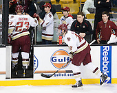Patrick Brown (BC - 23), Kevin Hayes (BC - 12), Stephen Greenberg (BC - Senior Manager), Chris Malloy (BC - Student Manager) - The Boston College Eagles defeated the Boston University Terriers 3-2 (OT) in their Beanpot opener on Monday, February 7, 2011, at TD Garden in Boston, Massachusetts.