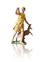 "Painted colour verion of Artemis and a deer, known as ""Diana of Versailles"", a 1st - 2nd century Roman statue in marble probably from Italy.  Artemis, Diana to the Romans, is goddess of the hunt, is accompanied by a deer.  The Diana of Versailles, similar to other Roman replicas was found in Libya or Turkey and was copied from a lost Greek bronze original attributed to Leochares, c. 325 BC .  First the statue was at Fontainbleau then the Louvre ancient hall and finally it went to Versailles. From the collection of Louis XIV, Pope Paul IV and Henry II (1556) . Inv MR 152 ( or Ma 589), Louvre Museum Paris"