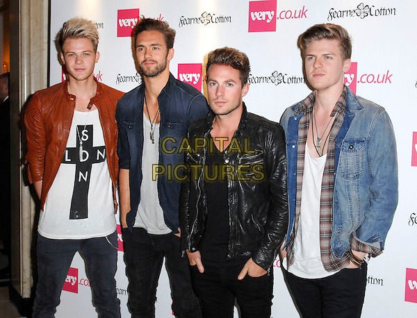 Lawson - Ryan Fletcher, Adam Pitts, Andy Brown &amp; Joel Peat<br /> attends the Very.co. uk SS14 Fashion Range launch Party at Claridges Hotel in London, England, UK,<br /> September 12th 2013.<br /> half length boy band denim shirt jacket jeans white t-shirt brown leather jacket <br /> CAP/PP<br /> &copy;PP/Capital Pictures
