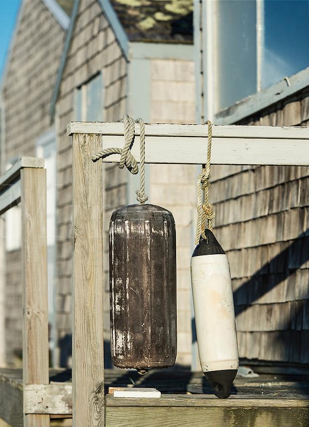 Fishing shanty with buoys, Stetson Cove Chatham, Massachusetts, USA
