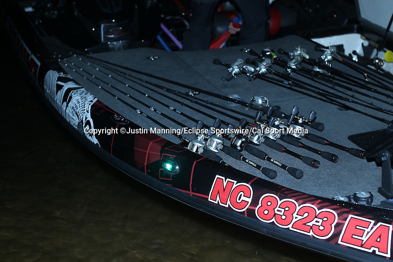 August 21, 2015: Lures on the deck of a boat before takeoff of the Forrest Wood Cup on Lake Ouachita in Hot Springs, AR. Justin Manning/ESW/CSM