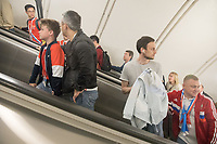 MOSCOW, RUSSIA - June 14, 2018: Fans ride the escalator at the Sportivnaya Metro station heading to the opening match of the FIFA 2018 World Cup at Luzhniki Stadium.