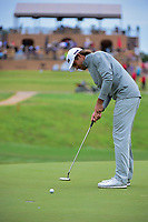 Aaron Baddeley (AUS) barely misses his par putt on 16 during round 3 of the Valero Texas Open, AT&amp;T Oaks Course, TPC San Antonio, San Antonio, Texas, USA. 4/22/2017.<br /> Picture: Golffile | Ken Murray<br /> <br /> <br /> All photo usage must carry mandatory copyright credit (&copy; Golffile | Ken Murray)
