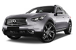 Stock pictures of low aggressive front three quarter view of a 2015 Infiniti QX70 S 5 Door Suv Low Aggressive