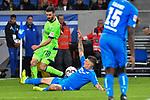 01.12.2018, wirsol Rhein-Neckar-Arena, Sinsheim, GER, 1 FBL, TSG 1899 Hoffenheim vs FC Schalke 04, <br /> <br /> DFL REGULATIONS PROHIBIT ANY USE OF PHOTOGRAPHS AS IMAGE SEQUENCES AND/OR QUASI-VIDEO.<br /> <br /> im Bild: Szene, die fuer den Videobeweis sorgte, Daniel Caligiuri (FC Schalke 04 #18) gegen Steven Zuber (TSG Hoffenheim #17), Handspiel?<br /> <br /> Foto &copy; nordphoto / Fabisch