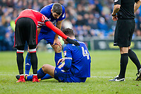 Sean Morrison of Cardiff City appears hurt after blocking the shot of Lee Cattermole of Sunderland during the Sky Bet Championship match between Cardiff City and Sunderland at the Cardiff City Stadium, Cardiff, Wales on 13 January 2018. Photo by Mark  Hawkins / PRiME Media Images.