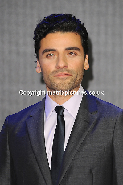 NON EXCLUSIVE PICTURE: PAUL TREADWAY / MATRIXPICTURES.CO.UK<br /> PLEASE CREDIT ALL USES<br /> <br /> WORLD RIGHTS<br /> <br /> Guatemalan-American actor Oscar Isaac attending the European Premiere of Star Wars: The Force Awakens in Leicester Square, in London.<br /> <br /> DECEMBER 16th 2015<br /> <br /> REF: PTY 153700