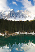 Latemar Mountain reflection in Logo di Carreza, Dolomite Mountains, South Tyrol, Italy