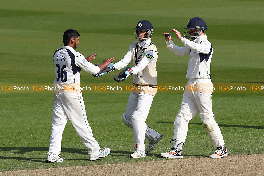 Ravi Patel (L) of Middlesex is congratulated by his team mates after taking the wicket of James Burke during Surrey CCC vs Middlesex CCC, Friendly Match Cricket at the Kia Oval on 22nd March 2016