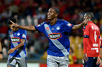 MEDELLIN - COLOMBIA: 16 - 05 - 2017: Bayan Angulo, jugador de Emelec, celebra el gol anotado a Emelec, durante partido de la fase de grupos, grupo 3, fecha 5 entre Deportivo Independiente Medellin de Colombia y Emelec de Ecuador por la Copa  Conmebol Libertadores Bridgestone 2017 en el Estadio Atanasio Girardot, de la ciudad de Medellin. / Bayan Angulo, player of Emelec, celebrates the goal scored to Deportivo Independiente Medellin, during a match for the group stage, group 3 of the date 5th, between Deportivo Independiente Medellin of Colombia and Emelec of Ecuador for the Conmebol Libertadores Bridgestone Cup 2017, at the Atanasio Girardot, Stadium, in Medellin city. Photos: VizzorImage / Leon Monsalve / Cont.