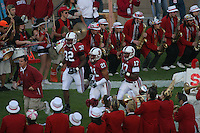4 November 2006: Emeka Nnoli, Thaddeus Chase Jr., and Carlos McFall during Stanford's 42-0 loss to USC at Stanford Stadium in Stanford, CA.
