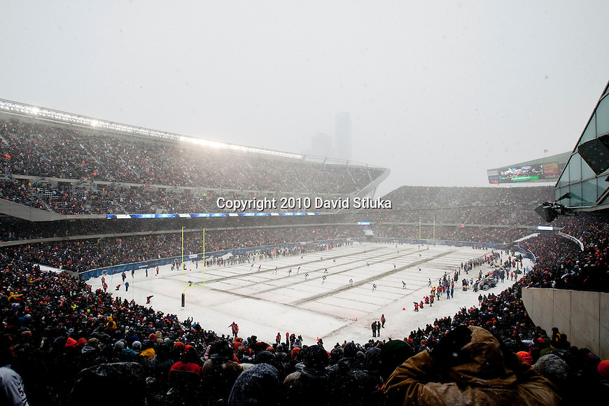 A general view of Soldier Field during the opening kickoff of the Chicago Bears NFL football game against the New England Patriots at Soldier Field on December 12, 2010. The Patriots won 36-7. (AP Photo/David Stluka)
